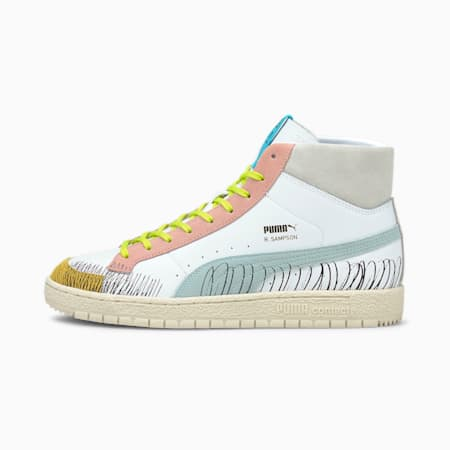 PUMA x MICHAEL LAU Ralph Sampson 70 Mid Trainers, Puma White-Blue Glow, small