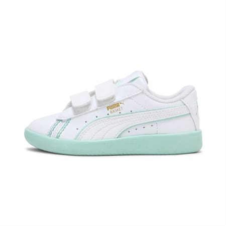 PUMA x one8 Virat Kohli Basket Kid's Sneakers, Puma White-Mist Green, small-IND