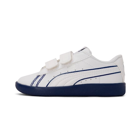 PUMA x one8 Virat Kohli Basket Kid's Sneakers, Puma White-Dark Denim, small-IND