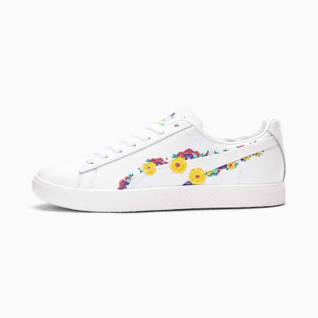 Zapatos deportivosClyde NYC Floralpara mujer, P White-S Lemon-Ultra Violet, pequeño