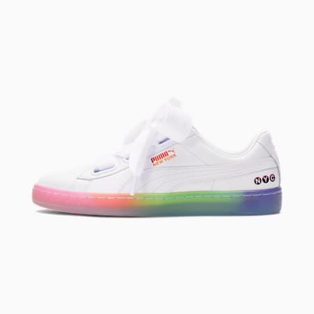 Basket Heart NYC Fade Women's Sneakers, White-White-Luminous Pink, small