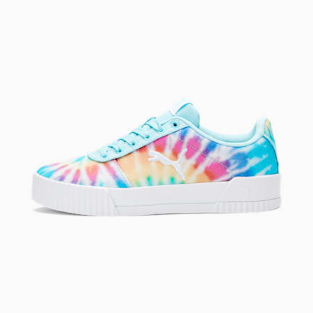 Carina Summer Cat Tie Dye Sneakers JR, PWhite-Gulf Stream-PBlack, small