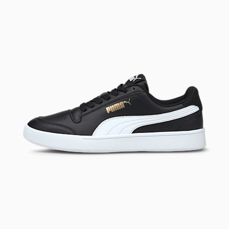 Shuffle Youth Trainers, Puma Black-Puma White-Gold, small
