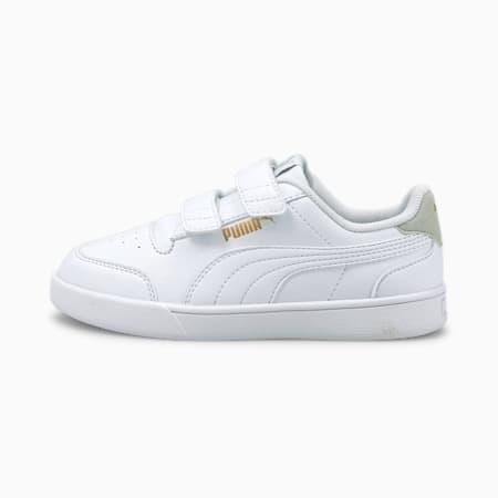 Dziecięce buty sportowe Shuffle, White-White-Gray- Gold, small