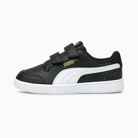 Shuffle Kids' Trainers, Puma Black-Puma White-Puma Team Gold, small
