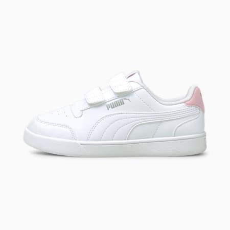 Shuffle Kids' Trainers, Puma White-Puma White-Pink Lady, small