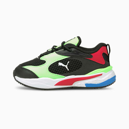 RS-Fast AC Babies' Trainers, Puma Black-Elektro Green-Red, small