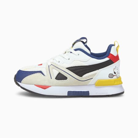 PUMA x PEANUTS Mirage Mox Kids' Trainers, Puma White-Puma Black, small