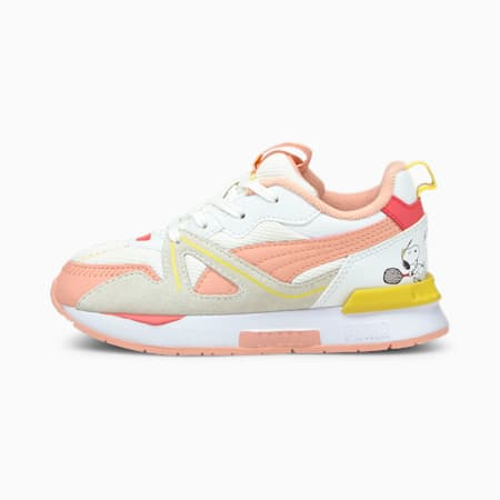 PUMA x PEANUTS Mirage Mox Kids' Trainers, Puma White-Apricot Blush, small
