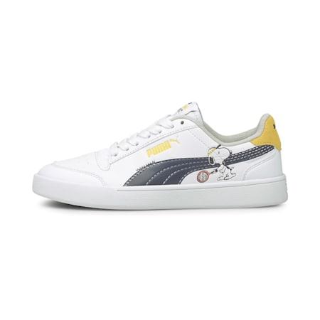 PUMA x PEANUTS Shuffle Youth Shoes, Puma White-Puma Black-Maize, small-IND