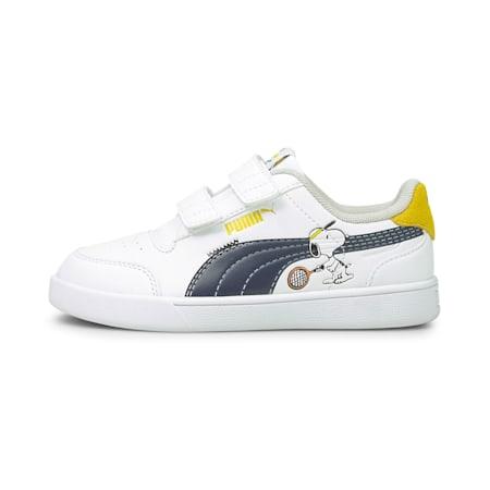 PUMA x PEANUTS Shuffle Kids' Shoes, Puma White-Puma Black-Maize, small-IND