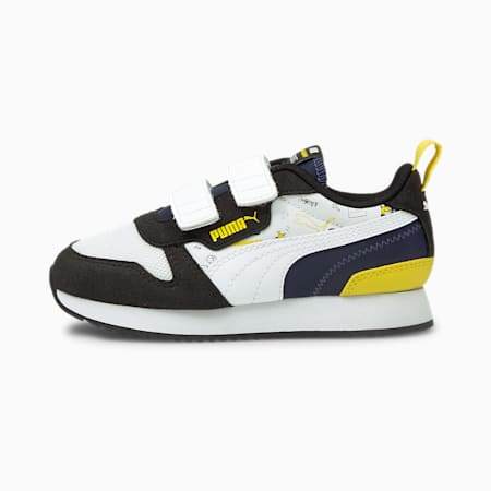 Zapatillas para niños PUMA x PEANUTS R78 V, Black-Puma White-Peacoat, small
