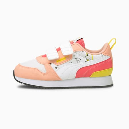 PUMA x PEANUTS R78 V Kids' Trainers, Apricot Blush-White-Maize, small