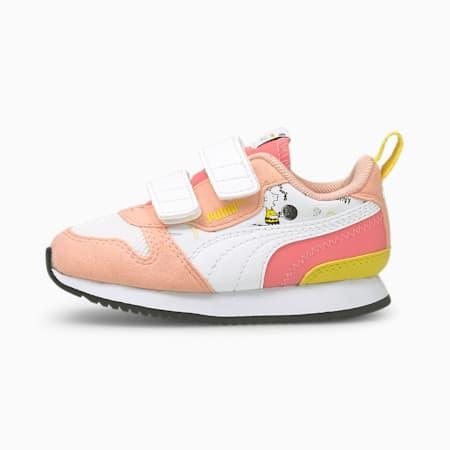 Zapatos PUMA x PEANUTS R78 para bebés, Apricot Blush-Blanco-Maize, pequeño