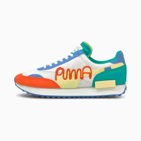 PUMA x MR DOODLE Future Rider Sneaker, Puma White-Yellow Pear, small