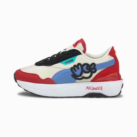 PUMA x MR DOODLE Cruise Rider Damen Sneaker, Eggnog-Ultramarine, small
