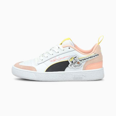 PUMA x PEANUTS Ralph Sampson Youth Trainers, Puma White-Puma Black-Sun Kissed Coral, small
