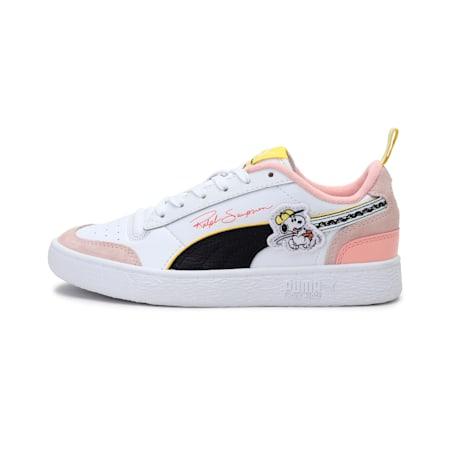 PUMA x PEANUTS Ralph Sampson Youth Shoes, Puma White-Puma Black-Sun Kissed Coral, small-IND