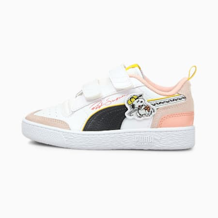 PUMA x PEANUTS Ralph Sampson V Kids' Trainers, Puma White-Puma Black-1, small