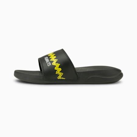 PUMA x PEANUTS Popcat 20 Kids' Sandals, Puma Black-Maize, small