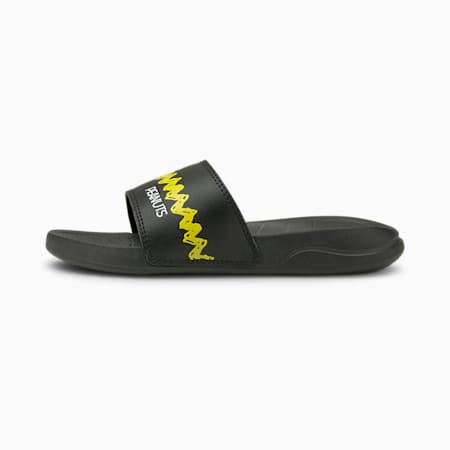 PUMA x PEANUTS Popcat 20 Kids' Sandals, Puma Black-Maize, small-SEA