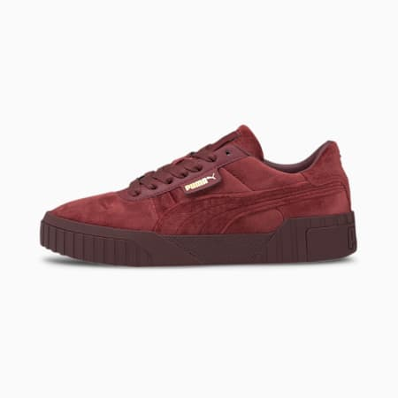 Cali Velour Women's Sneakers, Burgundy-Puma Team Gold, small