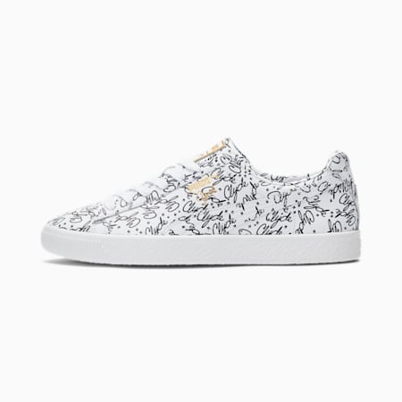 Clyde AOP Sneakers, Puma White-Puma Black-Gold, small