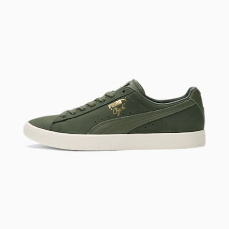 Clyde Autumn Sneakers, Thyme-Marshmallow-Puma TGold, small
