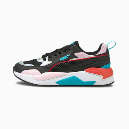 Zapatos deportivos X-RAY Square Iridescentpara mujer, Black-Black-Pink Lady-Silver, pequeño