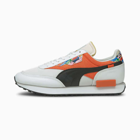 Future Rider International Game Sneaker, Puma White-Tigerlily, small