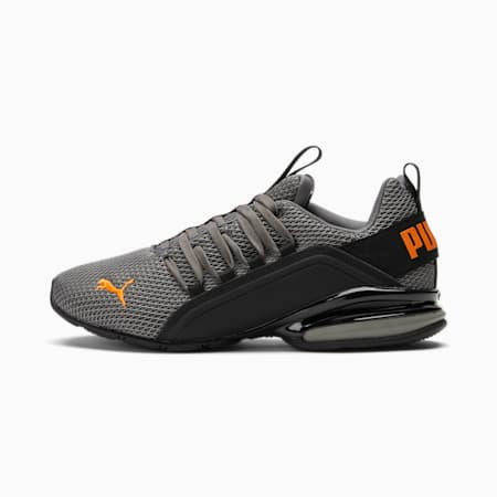 Zapatos para correr Axelion NM para hombre, CASTLEROCK-Vibrant Orange-Puma Black, pequeño