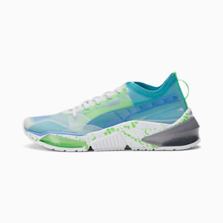 Zapatos de entrenamientoLQDCELL Optic Sheer GID para mujer, White-Elektro Purple- Green, pequeño