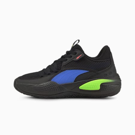 Court Rider Pop Youth Basketball Shoes, Puma Black-Bluemazing, small-GBR