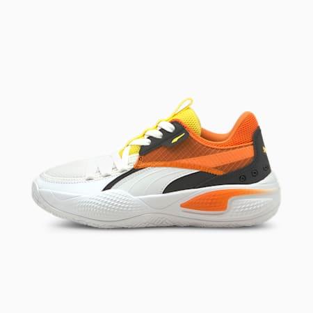 Zapatos deportivos Court Rider Court Crush JR, Puma White-Carrot, pequeño