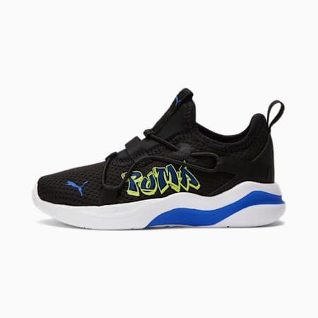 Zapatos deportivos sin cordones Rift Street Art para niños pequeños, Pm Bk-Nbl Bl-Nrgy Ylw-Int Bl, pequeño