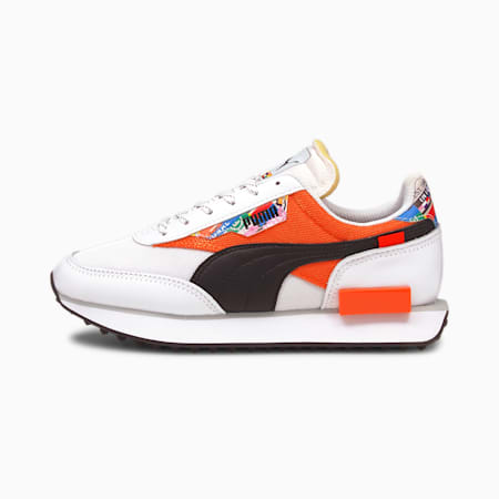 Future Rider International Game Youth Shoes, Puma White-Tigerlily, small-IND