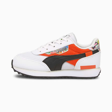 Future Rider International Game Kids' Trainers, Puma White-Tigerlily, small