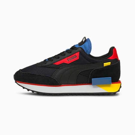 Future Rider Neon Play Youth Trainers, Puma Black-Star Sapphire, small