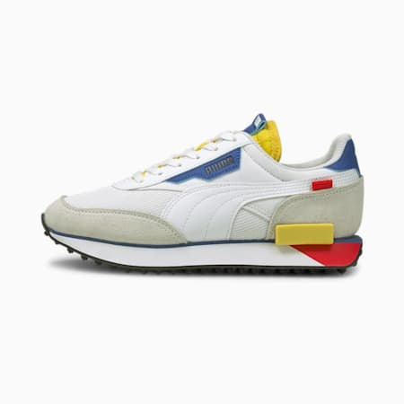 Future Rider Neon Play Youth Trainers, Puma White-Maize, small