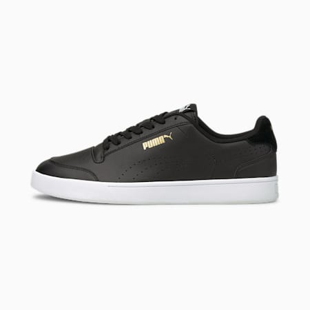 Shuffle Perforated Shoes, Black-Puma Team Gold-White, small-IND
