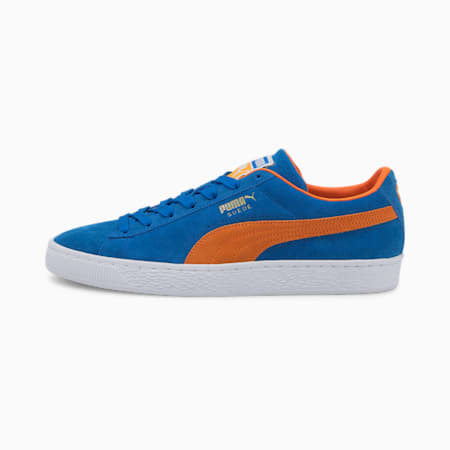 Suede Teams Trainers, Puma Royal-Vibrant Orange, small-GBR