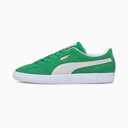 Suede Teams Trainers, Amazon Green-Puma White, small