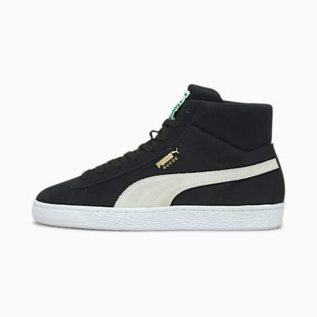 Zapatos deportivos SuedeXXI de caña media para hombre, Puma Black-Puma White-Amazon Green, pequeño