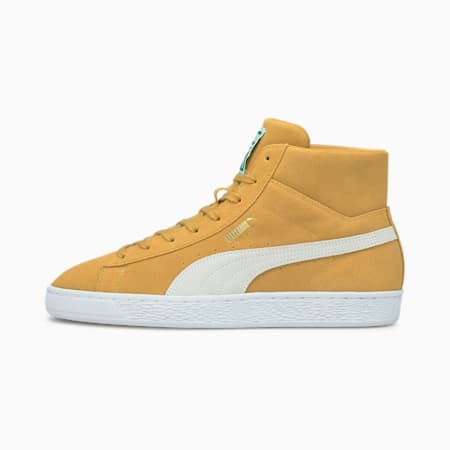 Scarpe da ginnastica in pelle scamosciata con profilo medio Suede Mid XXI uomo, Honey Mustard-Puma White, small