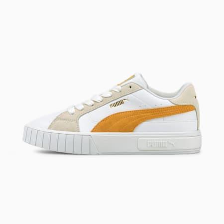 Zapatos deportivos Cali Star para mujer, Puma White-Mineral Yellow-Vaporous Gray, pequeño