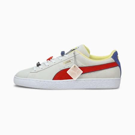 Zapatos deportivos Suede Decor8 para hombre, Puma White-Poppy Red, pequeño