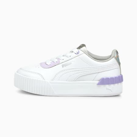 Carina Lift Shine Kids' Trainers, Puma White-Puma White, small