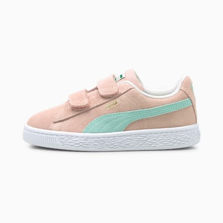 Suede Classic XXI Kids' Trainers, Lotus-Eggshell Blue, small