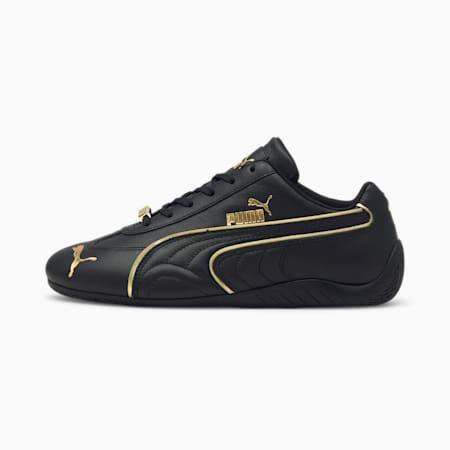 Zapatos de automovilismo Speedcat LS Metallicpara mujer, Puma Black-Puma Team Gold, pequeño