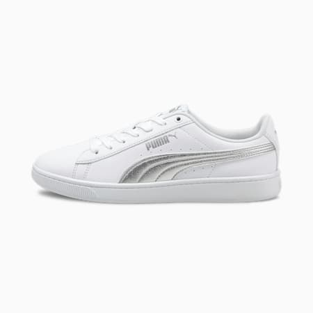Vikky v2 Metallic Women's Sneakers, Puma White-Puma Silver, small-IND